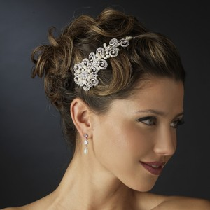 Elegance by Carbonneau Silver Freshwater Pearl Crystal Floral Side Accented Headband Headpiece Tiara