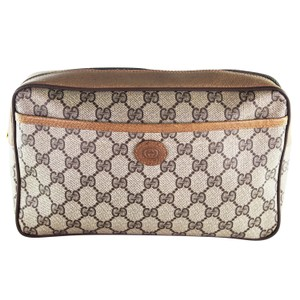 Gucci GG Monogram Canvas Leather Cosmetics Travel Toiletry Bag 6420