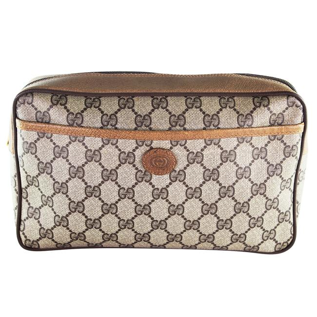 Item - Brown and Tan 6420 Toiletry Gg Monogram Canvas Leather Travel Cosmetic Bag