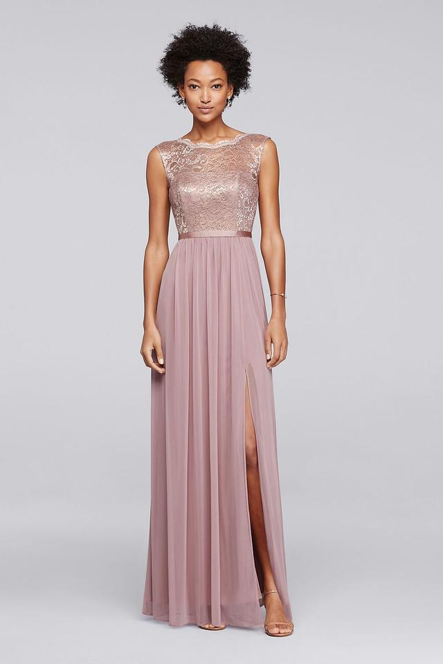 David's Bridal Rose Gold Metallic Lace and Chiffon F19328 ... Lace Gold Bridesmaid Dresses