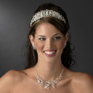 Elegance by Carbonneau Silver Crystal and Rhinestone Floral Tiara