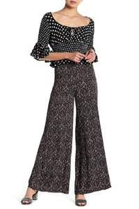 Free People Novelty Cherry Palazzo Crepe Wide Leg Pants Black