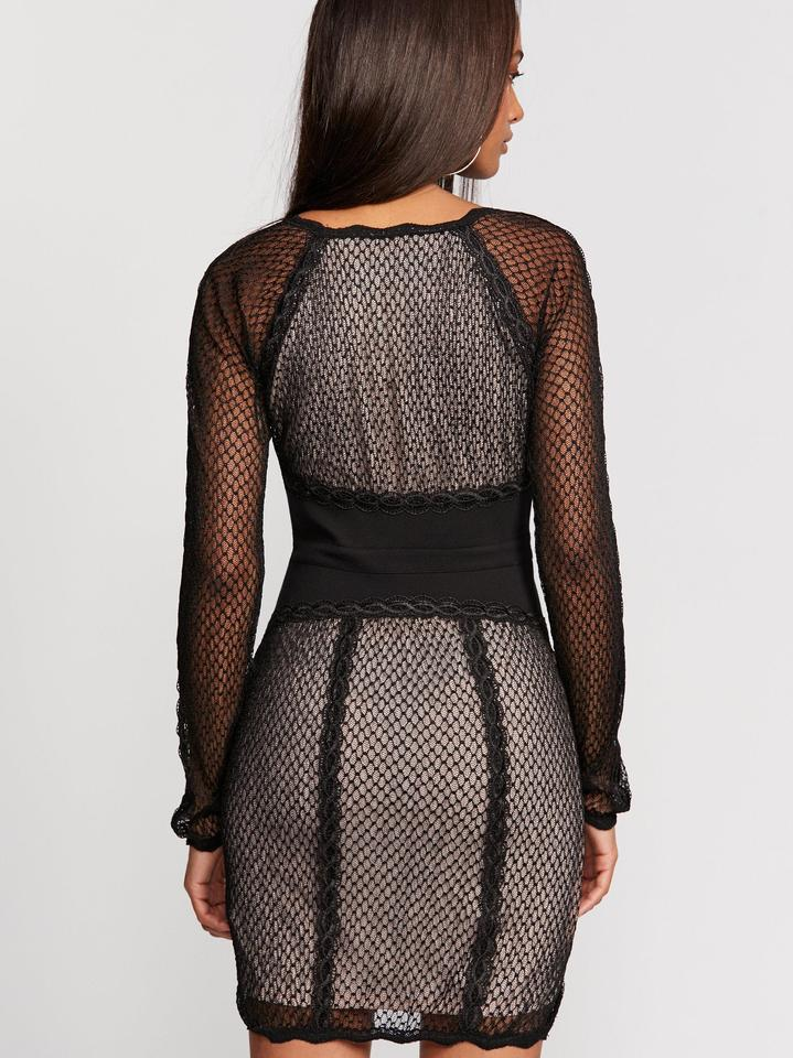 b515208466f Free People  nwt  Mixed Mesh Lace Bodycon Short Night Out Dress Size ...