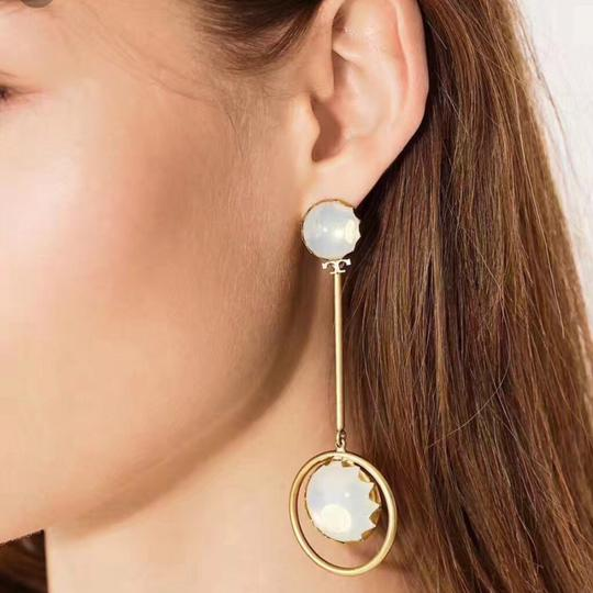 Tory Burch linear stone statement earrings Image 2