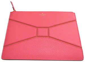 Kate Spade Bow Bowtie Pebbled Leather Flamingo Coral Clutch
