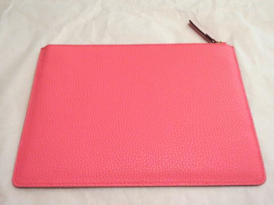 Kate Spade Bow Bowtie Pebbled Leather Flamingo Coral Clutch Image 1