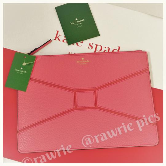 Kate Spade Bow Bowtie Pebbled Leather Flamingo Coral Clutch Image 3