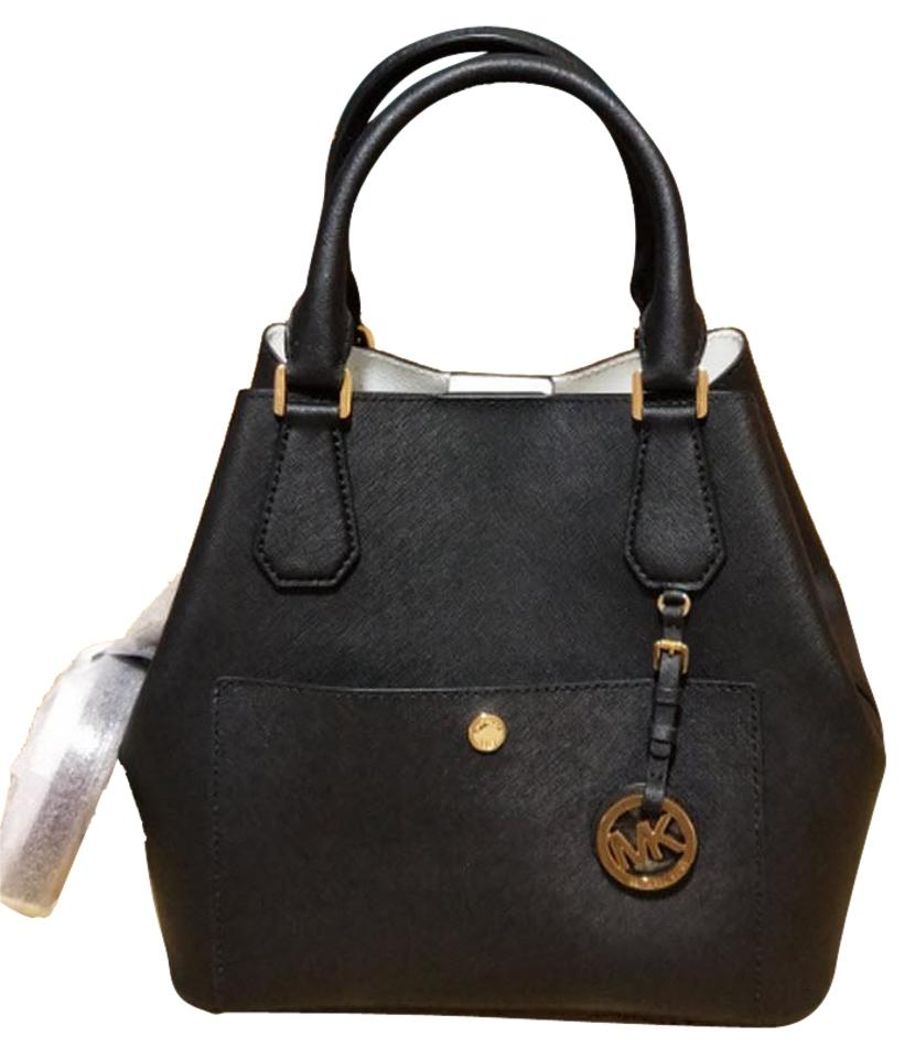 c430ed7a20fa Michael Kors Greenwich Large Grab Bucket Purse Black Saffiano Leather  Satchel