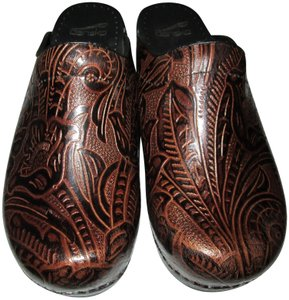 Dansko Brown Tooled Leather Mules