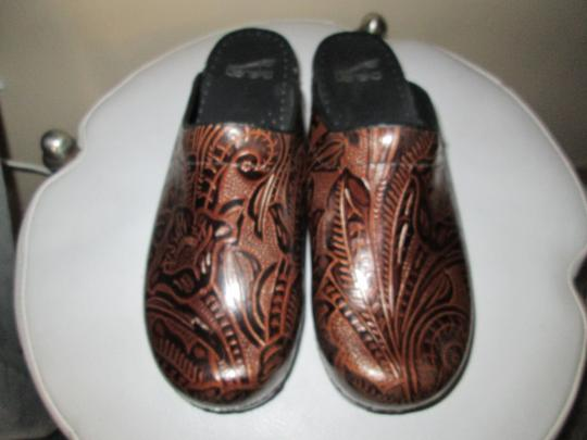 Dansko Brown Tooled Leather Mules Image 1