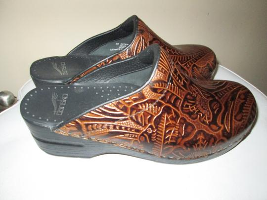 Dansko Brown Tooled Leather Mules Image 2
