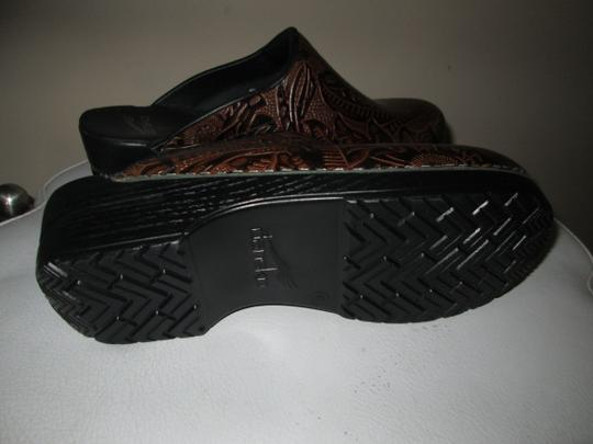 Dansko Brown Tooled Leather Mules Image 3