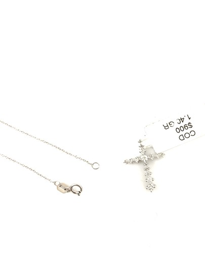 Other 14K White Gold Diamond Cross Necklace Image 3