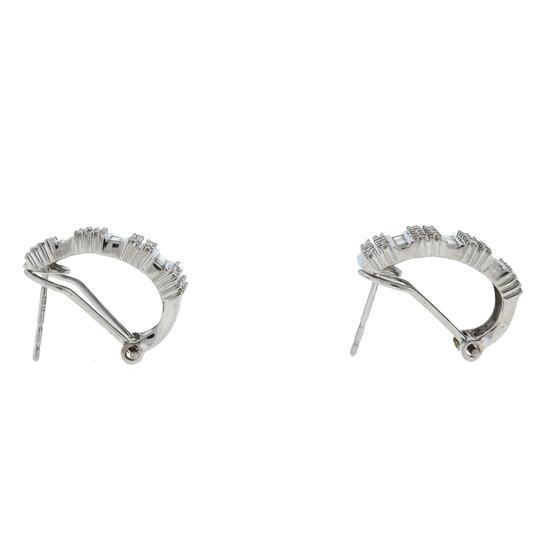 Unbranded 10k White Gold 1/2 Hoop Diamond Earrings 1.10 Cts Image 2