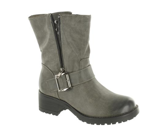 Red Circle Footwear Combat Studs Grey Boots Image 1