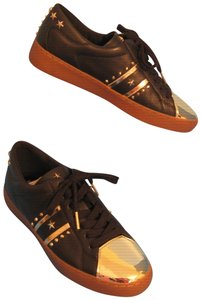 Michael Kors Frankie Stripe Leather & Gold Sneakers Black Athletic