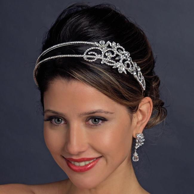 Item - Antique Silver 2 Row Crystal Side Accented Headband Tiara