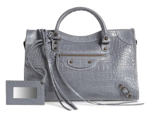 Balenciaga Croc-effect Leather Shoulder Bag