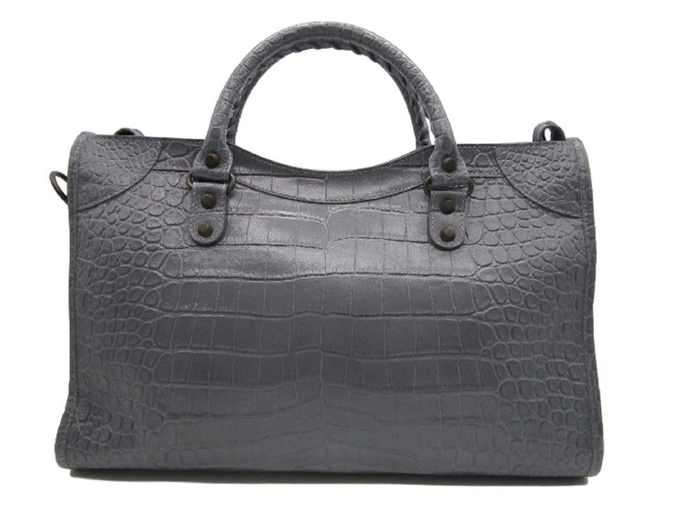 Croc Classic Grey City Tote Balenciaga Bag Shoulder Leather effect qOwF6xE