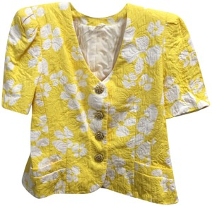 Escada Cotton Blend Pearl Buttons Yellow and White Jacket