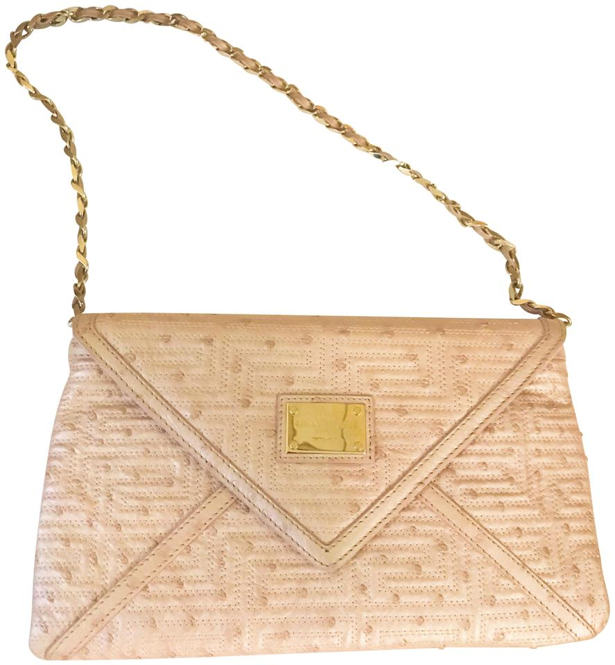 dec1ee5897c9 Versace Gianni Couture Envelope Chain Pearl Ostrich Leather Shoulder ...