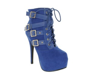 Red Circle Footwear Sexy Hi Lace Up Blue Boots