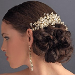 Elegance by Carbonneau Silver Or Gold Stunning Pearl Side Comb Hair Accessory