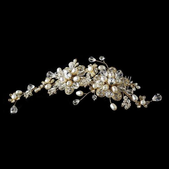 Elegance by Carbonneau Silver Or Gold Stunning Pearl Side Comb Hair Accessory Image 4