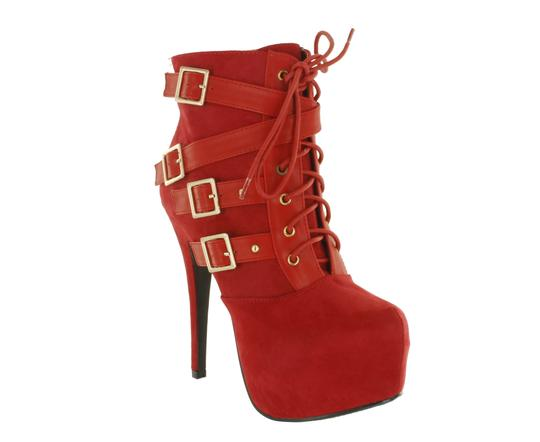 Red Circle Footwear Sexy Hi Lace Up Red Boots Image 2