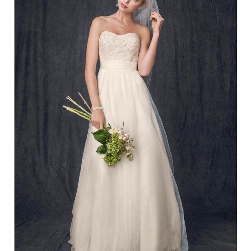 e40135ade67 David s Bridal Ivory Champagne Beaded Lace and Tulle Gown Feminine Wedding  Dress. Street Size  14 (L) ...