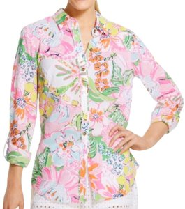 Lilly Pulitzer Floral Button Down Shirt Pink, Green