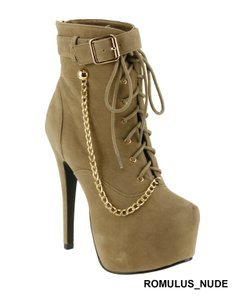 Red Circle Footwear Sexy Hi Lace Up Nude Boots