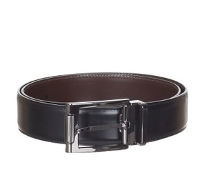 Salvatore Ferragamo Salvatore Ferragamo Men's Black Shiny Leather Rectangular Buckle Belt