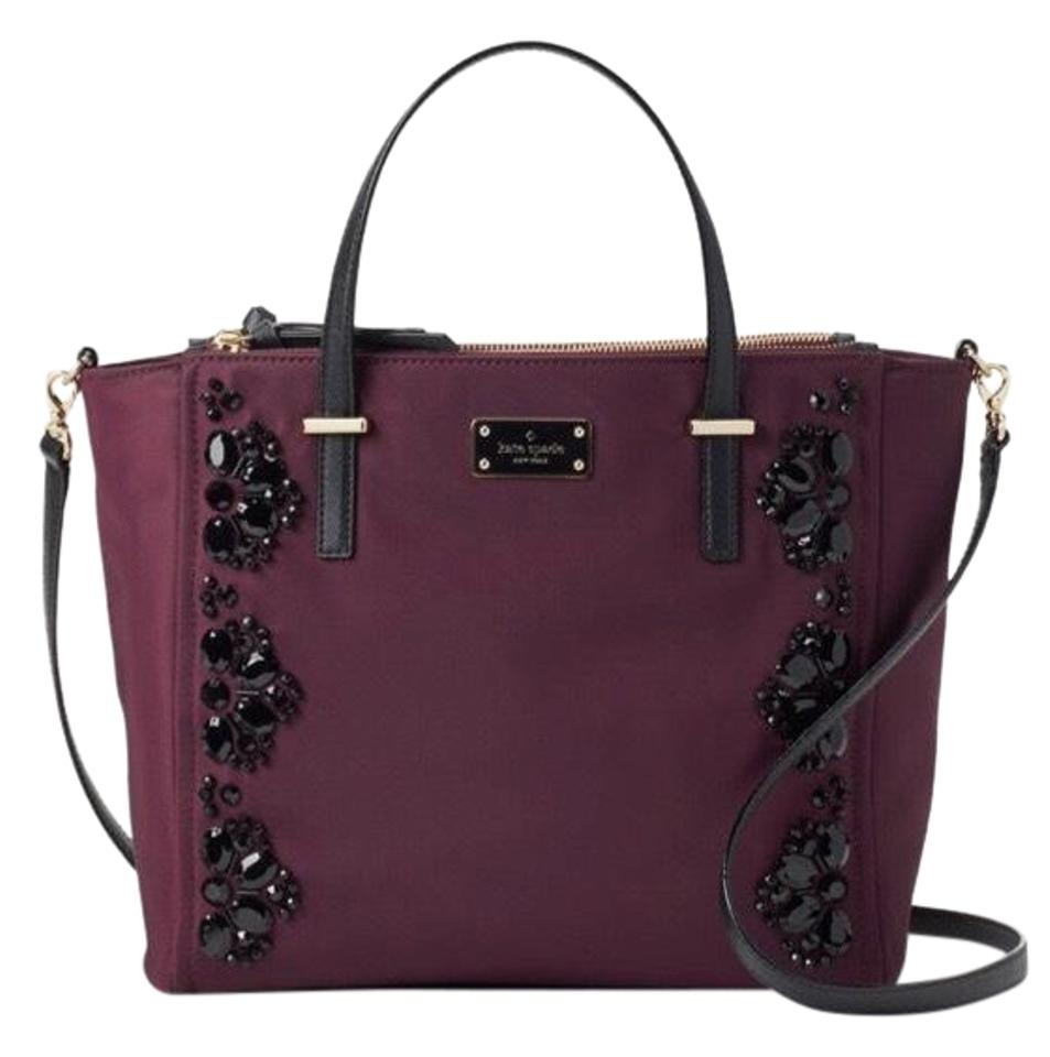 18f9de8c2212 Kate Spade Wilson Road Embellished Alyse Deep Plum Nylon Satchel ...