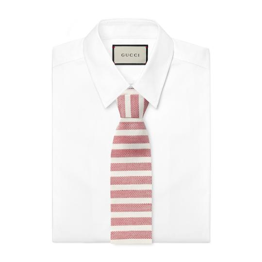 Preload https://img-static.tradesy.com/item/23892448/gucci-red-men-s-linen-silk-widely-striped-knit-square-tie-0-0-540-540.jpg