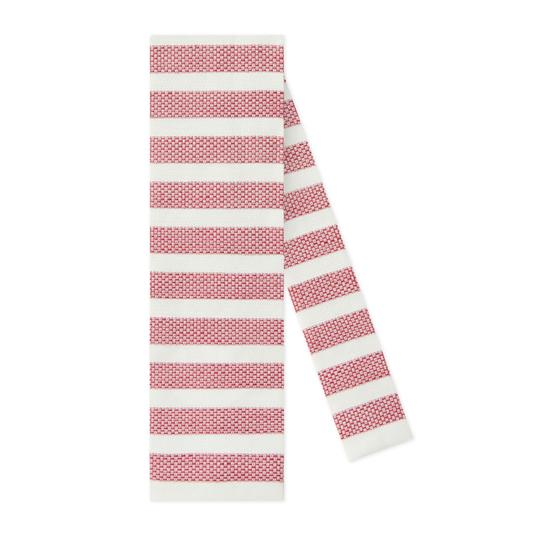 Gucci Gucci Men's Red Linen Silk Widely Striped Knit Square Tie Image 1