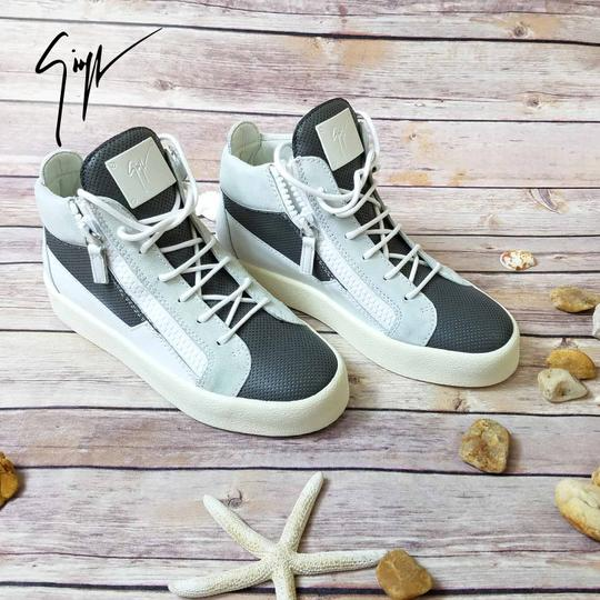 Giuseppe Zanotti Sneakers For Women Mid-top Perforated Leather Gray Athletic