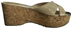 Jimmy Choo Tan Patent Italian Leather with Golden Jimmy choo toe Plate Wedges