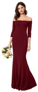 Katie May Full Length Crepe Gown Off The Shoulder Dress