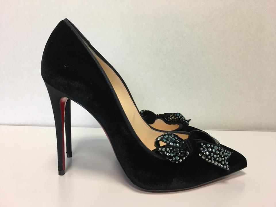 276564b809d Christian Louboutin Black Classic Madame Menule 100mm Strass Bow Velvet  Leather Point Toe Pumps Size EU 37.5 (Approx. US 7.5) Regular (M, B)