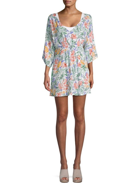 Item - White Alessandra Palm-print Cover-up/Sarong Size 14 (L)