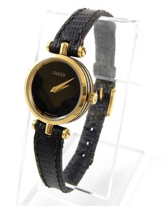 Gucci Gold Stainless Steel Vintage 21mm Ribbon Black Face Watch