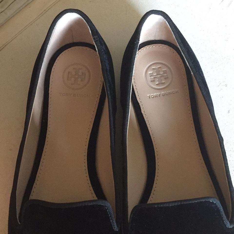 e8af87a37cb Tory Burch Black with Gold Sequin Embellished Peace Smoking Slipper ...