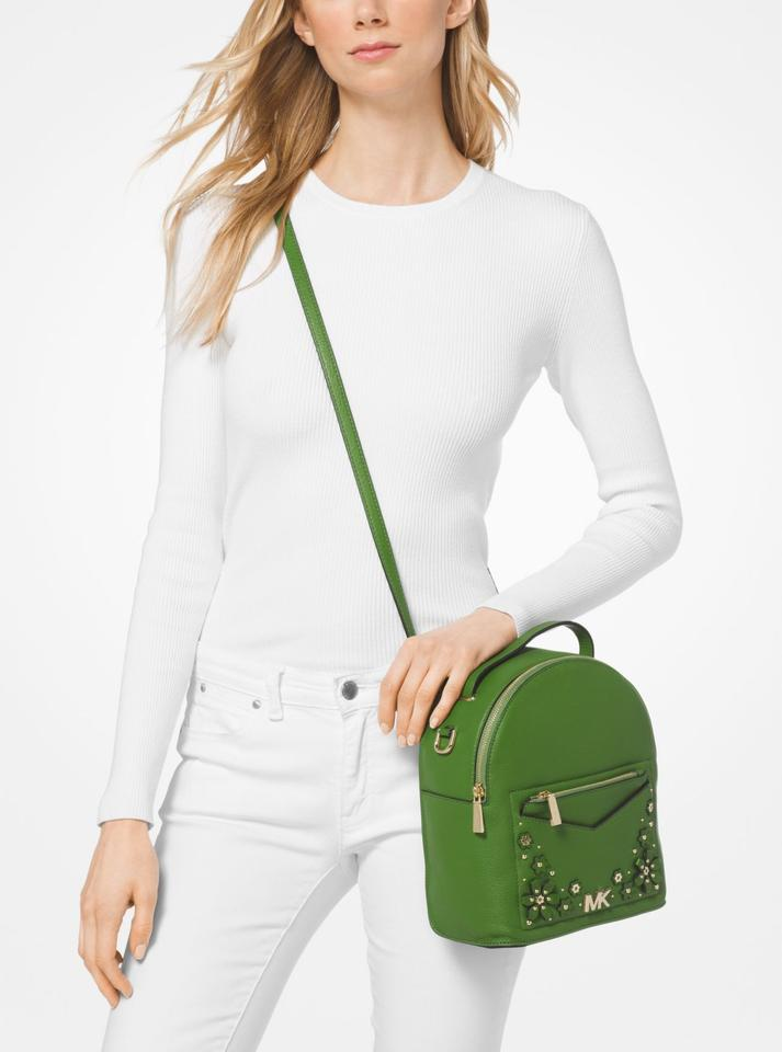 3ad6bd77ebb2 Michael Kors Jessa Small Floral Embellished Pebbled Green Leather Backpack  - Tradesy