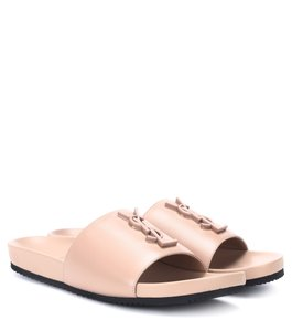 Saint Laurent Slides Logo Leather Classic Ysl Nude Sandals