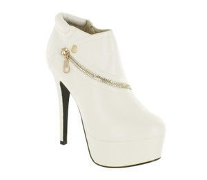 Red Circle Footwear Zipper Sexy Hi Heel Platform White Boots