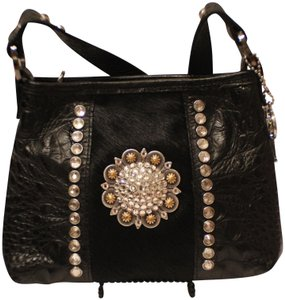 Raviani Crystal Hair On Hyde Silver-toned Leopard Print Leather Shoulder Bag