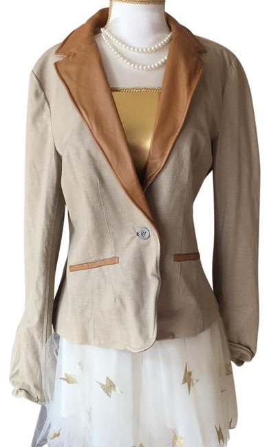 Item - Khaki and Peanut Butter With Leather Trim Collar By Blazer Size 8 (M)