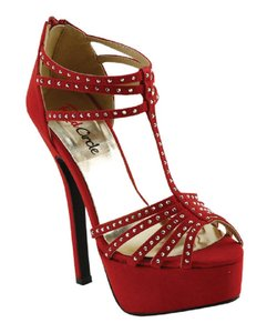 Red Circle Footwear Iron-stonre Strappy Dressy Red Platforms