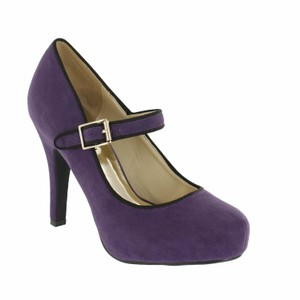 Red Circle Footwear Mary Jane Heels Purple Pumps